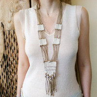Long necklace, hand weaving white fiber with silver beads, native inspired bridal, rustic gypsy art to wear wedding jewelry, boho natural