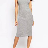 Grey Halter Neck Knitted Backless Bodycon Mid Dress