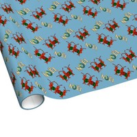 Cute Caroling Crawfish Lobster Noel Gift Wrapping Paper