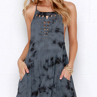 Amuse Society Hayden Black and Slate Blue Tie-Dye Print Dress