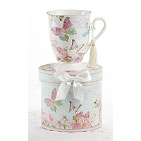 Delton Products Porcelain Tea / Coffee Mug in Matching Decorative Box, Butterfly