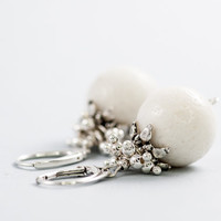 White Coral Bridal Earrings Beaded Short Wedding Earrings Wedding Jewelry Mother Day Gift