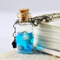 Small fresh the ocean glass cover pearl blue bottle necklace Ocean in a Bottle Necklace - Nautical Jewelry - Tiny Bottle