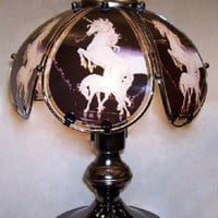 Mythical Unicorn Design 6 Glass Panel Shade Small Black Chrome Touch Table Lamp