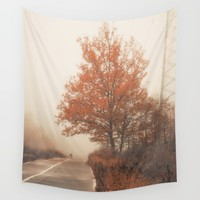 Autumn Road Wall Tapestry by Cinema4design