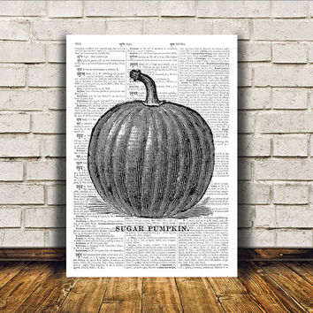 Kitchen decor Pumpkin poster Retro print Antique art RTA267