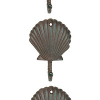 Scallop Shell Wall Hooks Cast Iron Antique Brown - Set of 3 for Coats, Aprons, Hats, Towels, Pot Holders, More