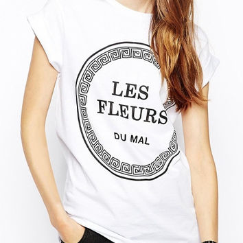 White Les Fleurs Rolled Up Sleeve Shirt