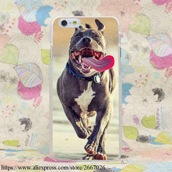 Pitbull Brown and White Running with Tongue Hanging Out Case for iPhone 7 7 Plus 6 6S Plus 5 5S SE 5C 4 4S