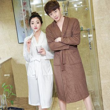 Hot Selling Men's Water Absorption Long Towel Bathrobe Men Kimono Terry Bath Robe Male Bathrobes Dressing Gown Mens Night Robes