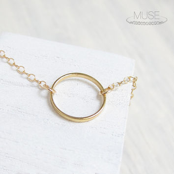 Small Gold Circle Necklace - 14k Gold Filled Chain, Circle Pendant, Delicate Necklace, Dainty Gold Necklace, For Layering, Simple Minimal