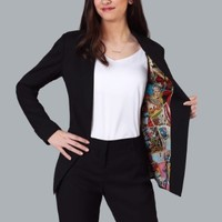 Marvel Vintage Print One-Button Blazer for Women