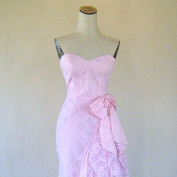 Pretty In Pink Lace Strapless Party Prom Dress Small