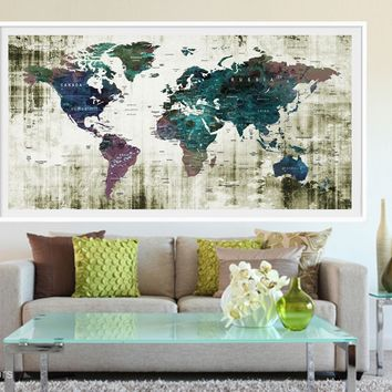 XL Poster Push Pin World Map travel Art Print Photo Paper watercolor Wall Decor Home Office (frame is not included) (P06) FREE Shipping USA!