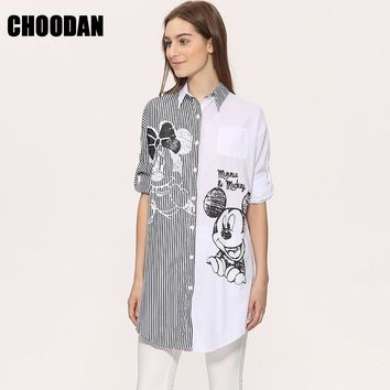 Women Blouse Shirt Long Sleeve 2017 New Fashion Spring Summer Cartoon Mouse Sequined Striped Tops Loose Casual Womans Cloth 2016