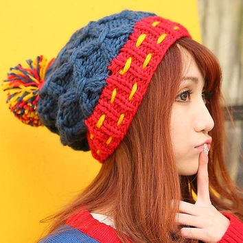 BomHCS Women Winter Warm Handmade Braided Crochet Knitted Beanie Double Color Mosaic With Rope &Hair Ball Fashion Hat Cap