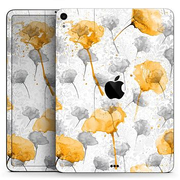 "Karamfila Yellow & Gray Floral V11 - Full Body Skin Decal for the Apple iPad Pro 12.9"", 11"", 10.5"", 9.7"", Air or Mini (All Models Available)"