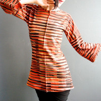 Womens Handmade Top, Hand Printed Stripes Top, Rust Black Gold Shirt, Long Bell Sleeves, Striped Jersey Shirt, Modern Bohemian Chic Style