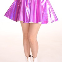 Glitters For Dinner — Made To Order - Pink Holographic Circle Skirt