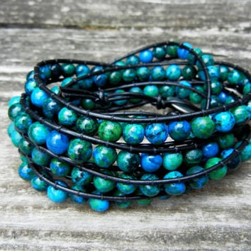 Beaded Leather Wrap Bracelet 5 Wrap with Blue and Green Sapphire Australian Jasper Beads on Black Leather