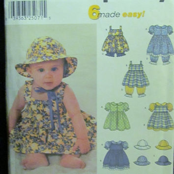 SALE Uncut Simplicity Sewing Pattern, 9784! XS/S/M/L Infant/Toddler/Babies/Dress/Pinafore/Panties/Underwear/Pantaloons/Sun Hats/Jumper Dress