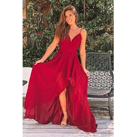 Burgundy High Low Dress with Embellishments