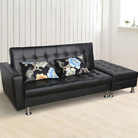 Modern Sofa Bed Couch Lounge Mattress Chair Storage Pillows PU Furniture Black