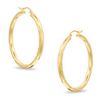10k Yellow Gold Diamond Cut Design Round Shape Hoop Earrings, Diameter  15mm