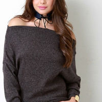 Brushed Rib Knit Off-The-Shoulder Long Sleeve Top
