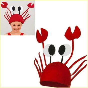 ESBONHS Halloween funny hats for party Unique Cute Crab Hat Cap for Easter Halloween Christmas Party Decoration  Red