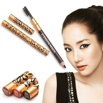 Chic Leopard Lady Eyebrow Waterproof Black Brown Pencil Brush Make Up Eyeliner = 1706136388