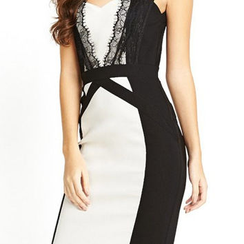 Color Block Lace Splicing Sheath Dress