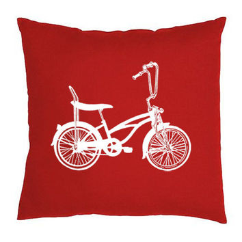 Bicycle Throw Pillow 18x18 Red by countercouturedesign on Etsy