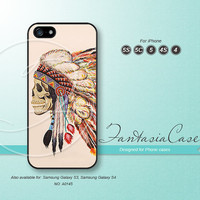 Skull Indian Chief, feather, iPhone 5 case, iPhone 5C Case, iPhone 5S case, Phone cases, iPhone 4 Case, iPhone 4S Case, iPhone case, FC-0145