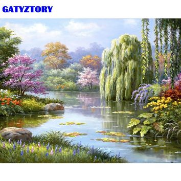GATYZTORY Frameless Picture Fairyland Lake DIY Painting By Numbers Landscape Modern Home Wall Art Canvas Painting 40x50cm Arts