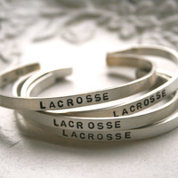 sterling silver lacrosse, field hockey, soccer, etc... cuff bracelet - personalize with your number or graduation year inside