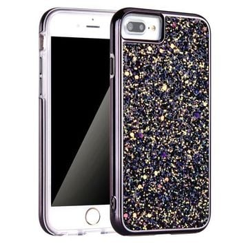 DCK4S2 iPhone 7 Plus Case, iPhone 8 Plus Case, Screen Protector, Bling Glitter Dual Layer Shockproof Hard PC Back Soft TPU Inner Protective Cover with Lanyard Strap for Apple iPhone 7/8 Plus 5.5 Inch (Black)