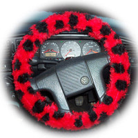 Ladybird ladybug red and black spots fluffy furry fuzzy car steering wheel cover