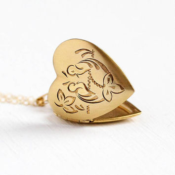 Vintage Lovebird Locket - 14k Rosy Yellow Gold Filled Heart Necklace - Retro 1970s Romantic Love Birds in a Tree Pendant Figural Jewelry