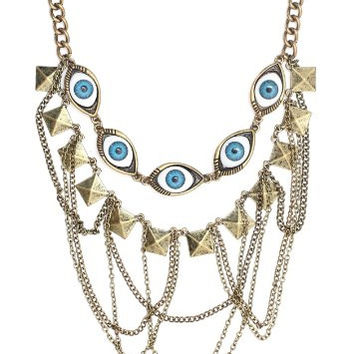 Eyeball Collar Necklace Pyramid Studs Chains Eye Bib Gold Tone NM32 Statement Choker Fashion Jewelry