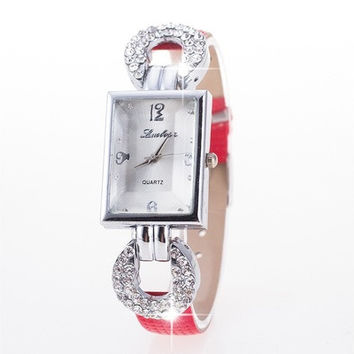 Elegant Women Fashion Leather Wristwatch Square Case Crystal Watch [8322857601]