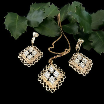 Vintage Sarah Coventry Necklace and Earring Rhinestine and Gold Tone Set Designer Signed Costume Jewelry Clip Earrings Dangly