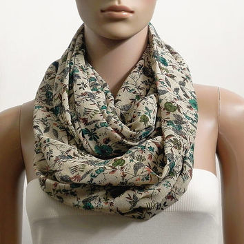 6d3bf0720048b Floral Infinity Scarf Shawl Chunky Beige Fashion Scarves for Wom