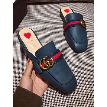 GUCCI Trending Women Stylish Blue Red Stripe Metal Letter Buckle Half Slipper Sandals Shoes Blue I-ALS-XZ