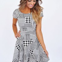 Black & White Houndstooth Fit & Flare