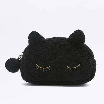 Black Fleece Cat Make-Up Bag - Urban Outfitters