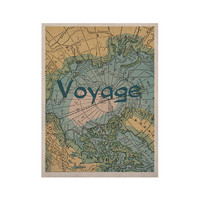 """Catherine Holcombe """"Voyage"""" Teal Map KESS Naturals Canvas (Frame not Included)"""