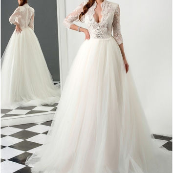 Bridal Dress Wedding Dress Sexy Deep V neck Sleeve Beaded Applique Vestidos De Noiva Ethereal A Line Gown Ruched Sale Best  2017
