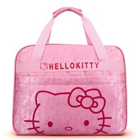 Travel Bag Cute Student Travel Bag Cartoon Little Woman Pink Travel Bag Hello Kitty Beautiful Oxford Tarpaulin Bag