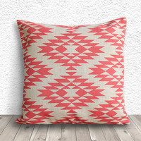 Pillow Cover, Aztec Pillow Cover, Tribal Pillow Cover, Linen Pillow Cover 18x18 - Printed Tribal - 036